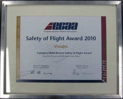 VistaJet receives the EBAA Bronze Safety of Flight Award for our outstanding Operational and Maintenance Safety Record